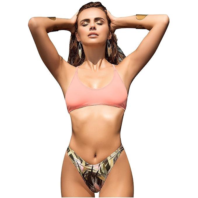 Amazon.com: Mapalé Womens 2 Piece High Leg Swimsuit Bikini ...