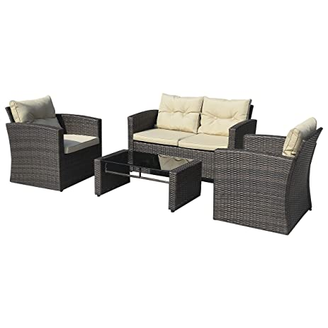Amazon Giantex 4 PCS Cushioned Wicker Patio Sofa Furniture