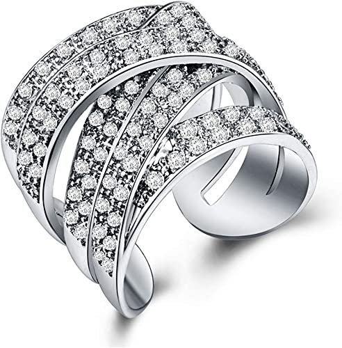Huitan Unique Cross Ring Cubic-Zirconia Cocktail Party Jewelry Valentines Gift Rings for Girls Women