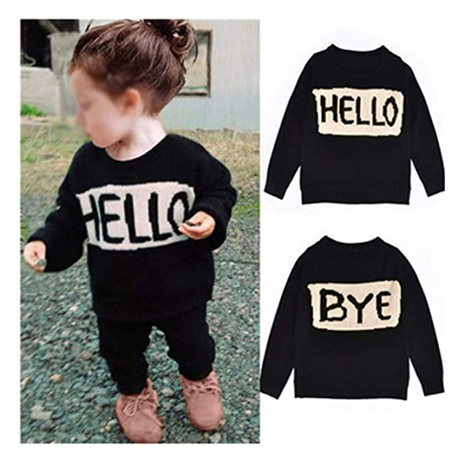 df6aabd44 Amazon.com  Cute Baby Girls Boys Hello Letter Style Sweaters Kids ...