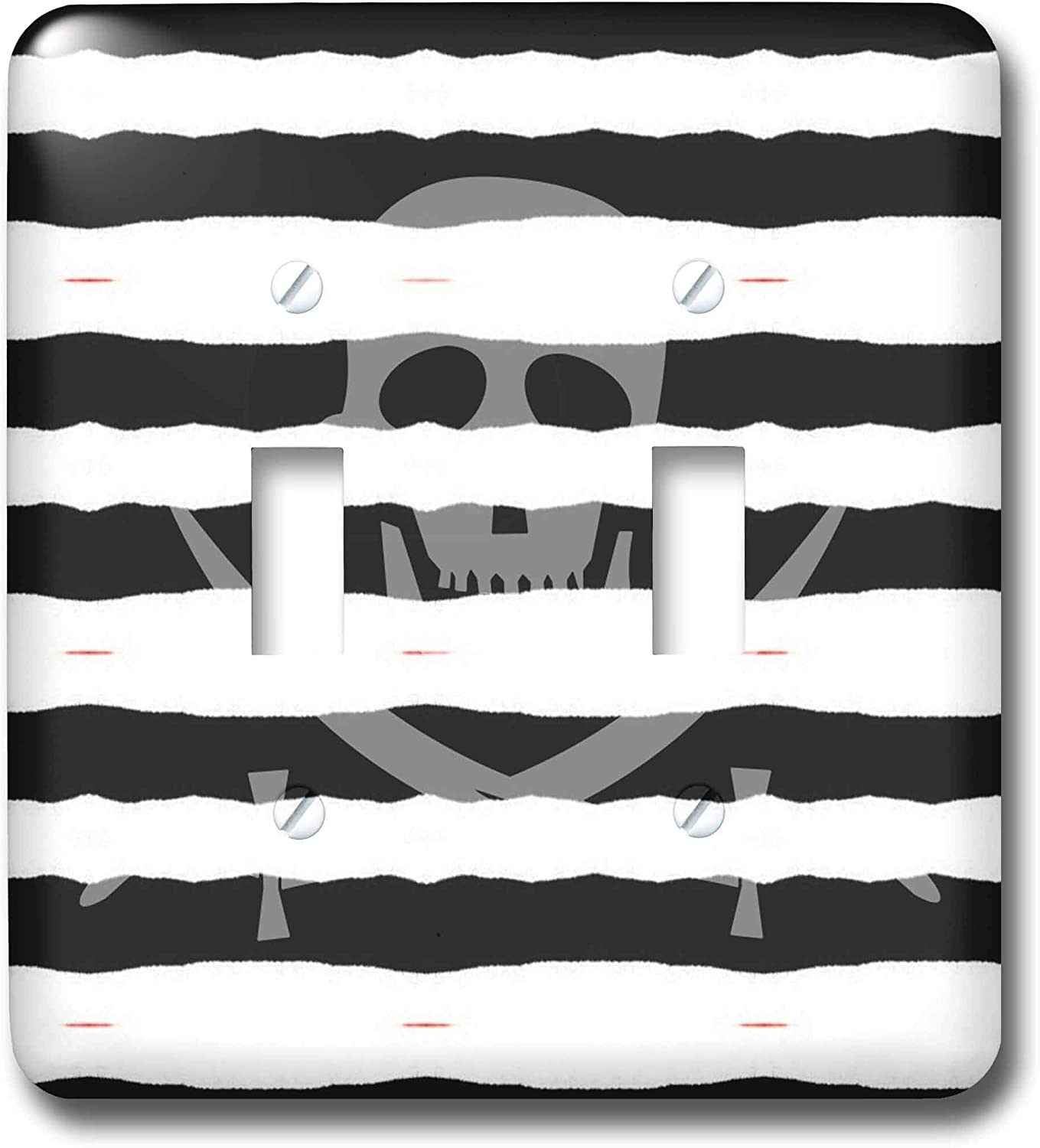 3drose Lsp 33717 2 Pirate Skull And Crossbones Black And White Stripes Design Toggle Switch Switch Plates