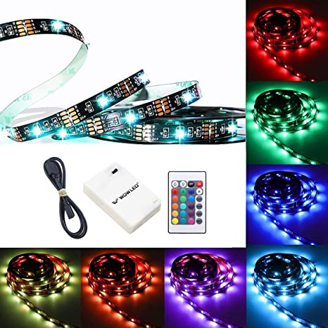 best value e2d75 8d03b WOWLED 50cm Battery Operated LED Lights, Strip Lighting Kit RGB Battery  Lights with IR Remote Waterproof Multi Color Changing Lights for Wedding  Home ...