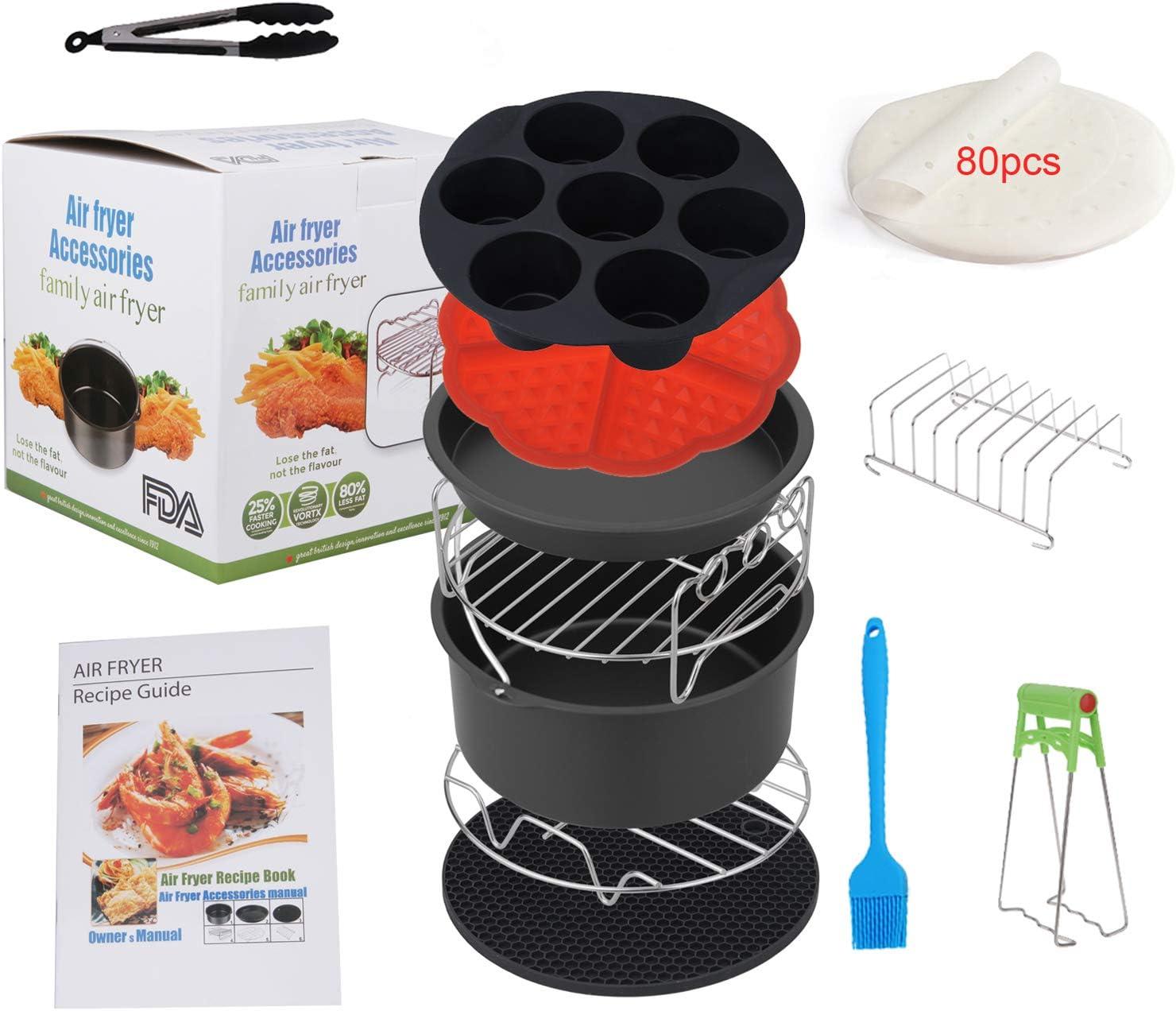 rev/êtement antiadh/ésif compatible avec les friteuses /à air de plus de 3,2 litres Accessoires pour friteuses /à air avec livre de recettes tour Airfryer 7 inch