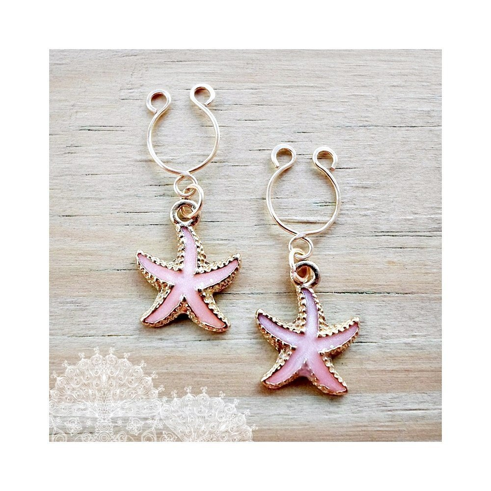 Nipple Rings Fake Starfish Ping Gold Body Jewelry 2 Pieces Non Pierced Ring Valentine's Day Gift for Her
