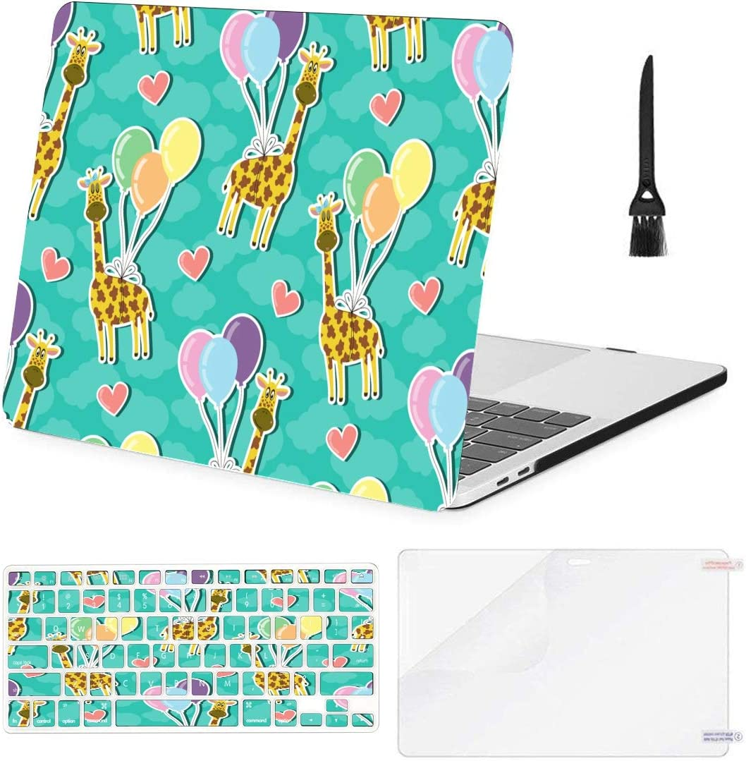 MacBook Pro Case Giraffe Balloons Hearts MacBook Retina 12 A1534 Plastic Case Keyboard Cover /& Screen Protector /& Keyboard Clean