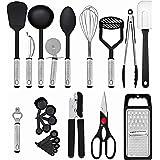 U Chef Utensilios de cocina, juego de 23 utensilios de cocina de acero inoxidable y silicona antiadherente, resistente al cal
