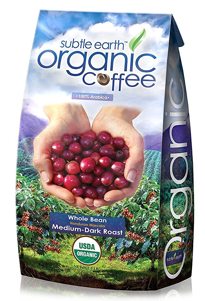 5LB Cafe Don Pablo Subtle Earth Organic Gourmet Coffee - Medium-Dark Roast - Whole Bean Coffee - USDA Certified Organic - 100% Arabica, 5 Pound