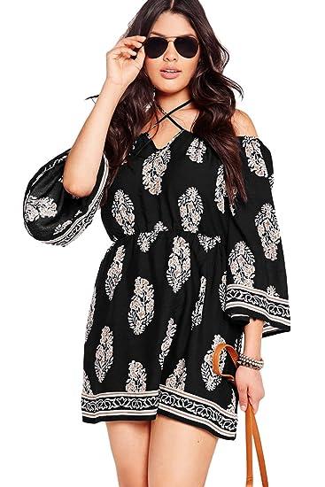 SunShine Plus Size Dress Floral Print Bardot Neck Black Off-shoulder Dress
