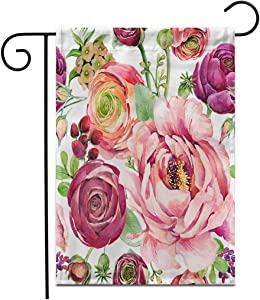 """Adowyee 28""""x 40"""" Garden Flag Botanical Watercolor Floral Flowers Aroma Beautiful Berry Blossom Border Outdoor Double Sided Decorative House Yard Flags"""