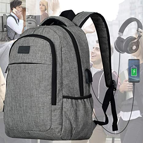 2d0d0b90ca60 Travel Laptop Backpack,Slim Business Backpack with USB Charging Port Water  Resistant College School Computer Bag for Women & Men Fits 15.6 Inch Laptop  ...