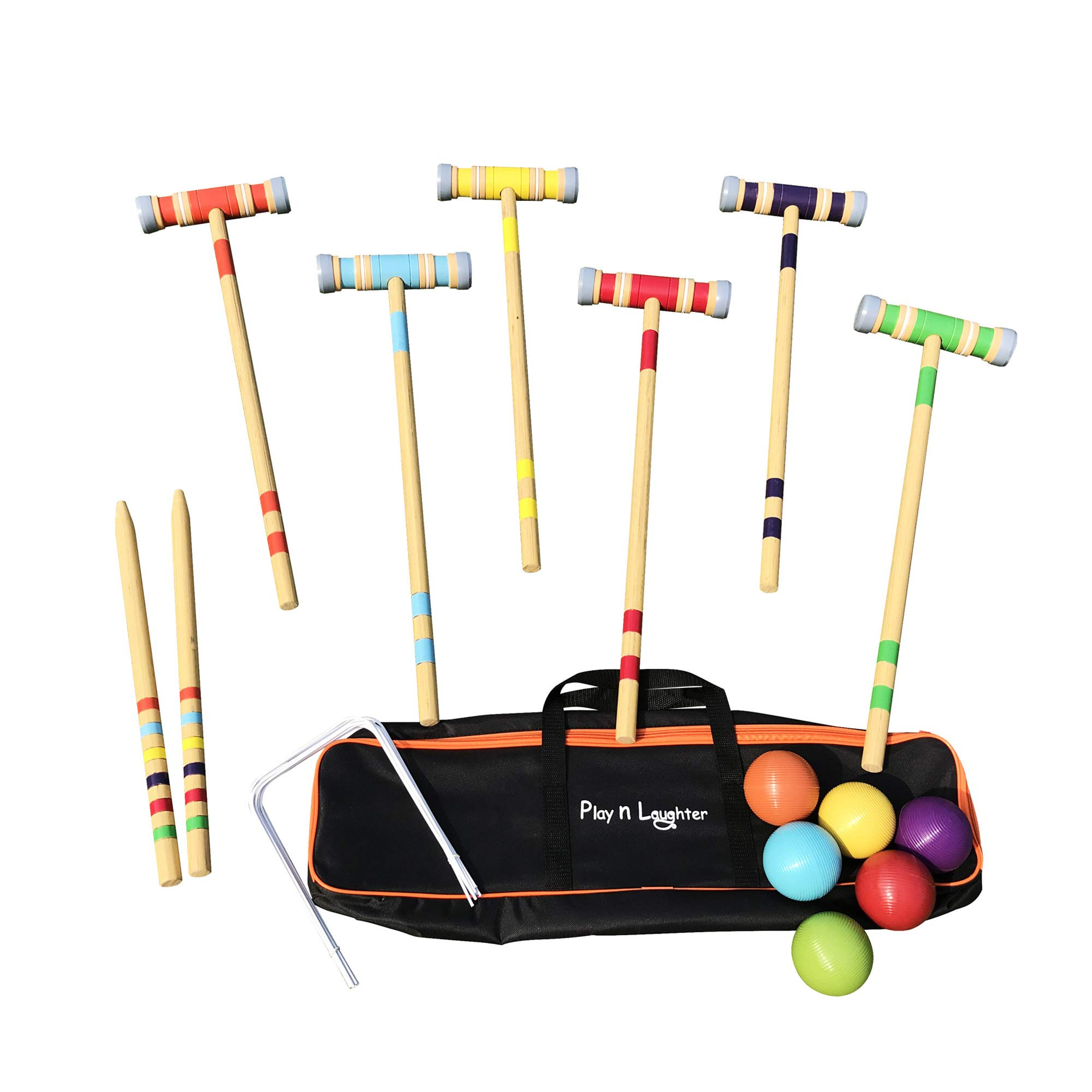 Play N Laughter 6 Player Croquet Set with Carrying Bag - 26''