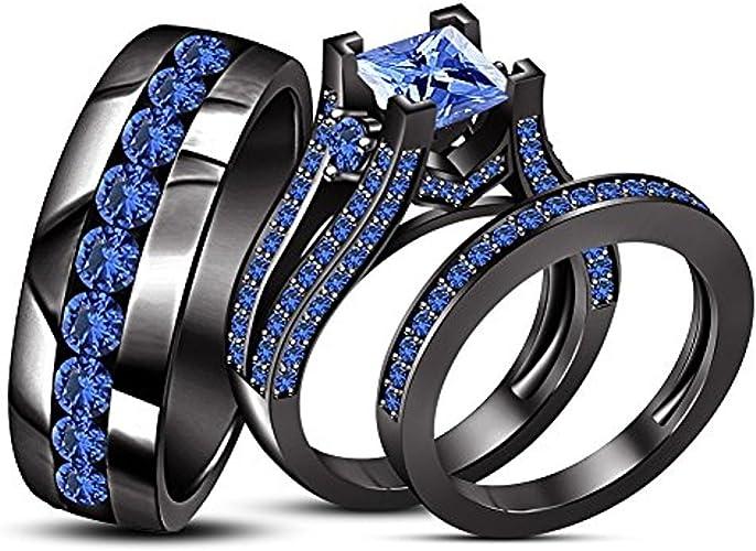 Amazon Com Princess Cut Blue Sapphire His Her Trio Ring Set In