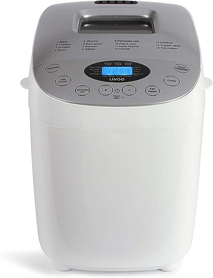Livoo DOP205W Máquina de pan hecha en casa | doble amasa, 15 ...