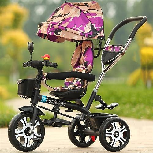 4-en-1 Enfant Tricycle Enfant Chariot Poignée Poignée Stoller Vélo Avec Camouflage Violet Anti-UV Auvent et Parent Poignée | pour 1-3-6 ans Garçon et Fille Bébé | Sièges