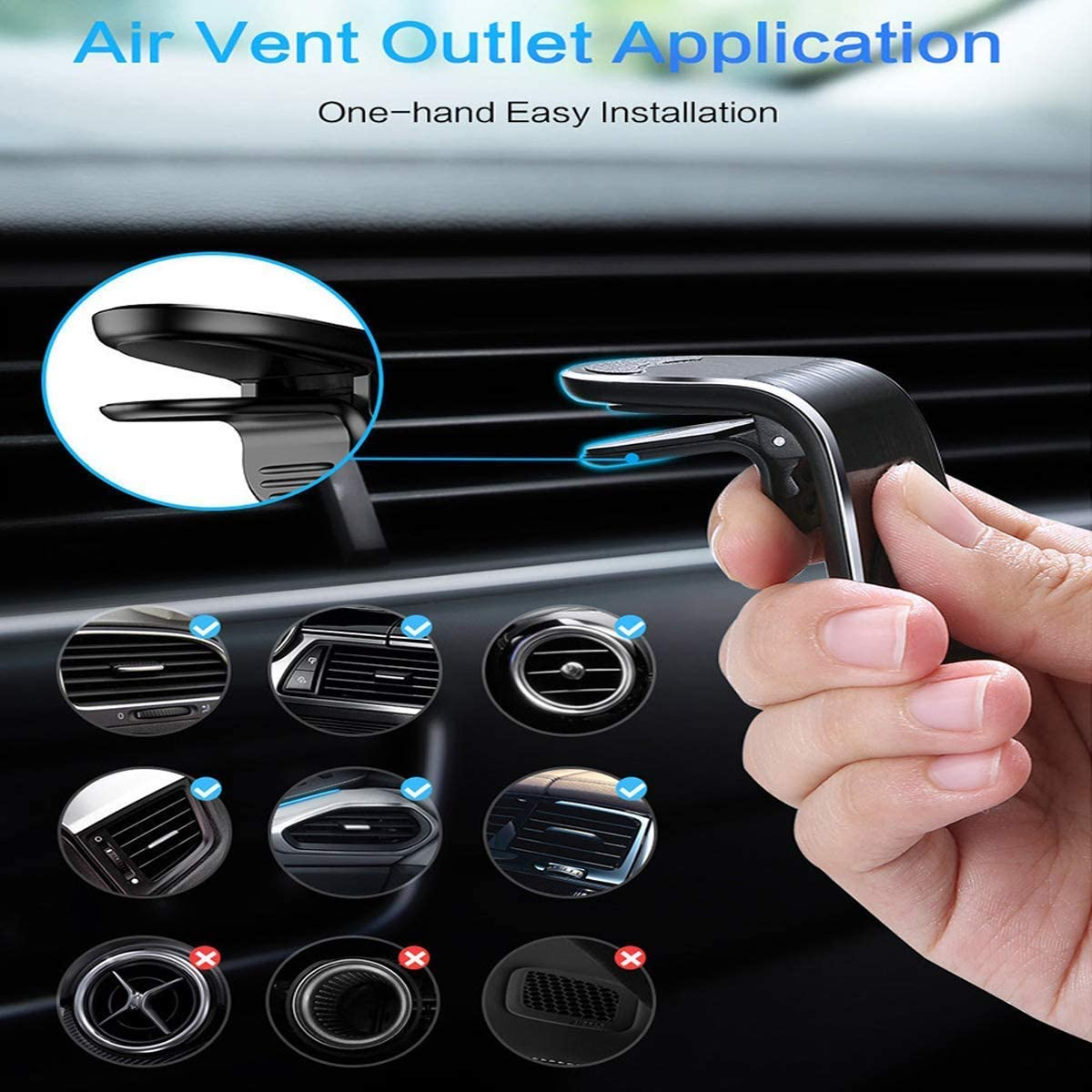 X Universal Air Vent Phone Holder Fits iPhone 11 Black /& Silver Samsung Galaxy /& Other Smartphones TT/&C Magnetic Cell Phone Car Mount 8 6Plus XR 7S