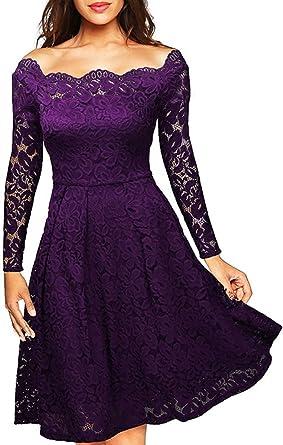 Meyison Damen Vintage 1950er Off Schulter Spitzenkleid Knielang Festlich  Cocktailkleid Abendkleid Rockabilly Kleid Gr.S XXL  Amazon.de  Bekleidung ef1e2a532a