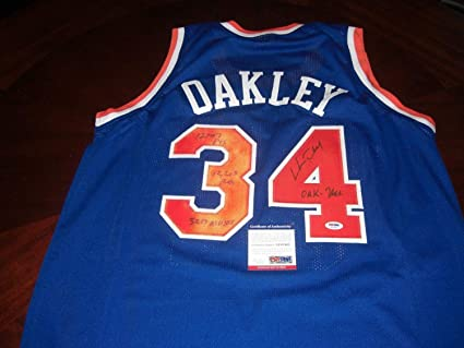 62c805c515b Image Unavailable. Image not available for. Color  Charles Oakley New York  Knicks Oak Tree Full Stats Memorabilia JSA Coa Autographed Signed Jersey