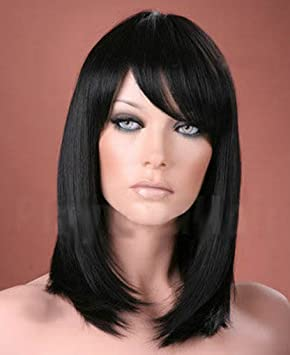 Forever Young Ladies Long Straight Side Bangs Fringe Off Black
