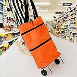 居家便携式挂轮购物车 新款简约时尚购物袋 (橙色)