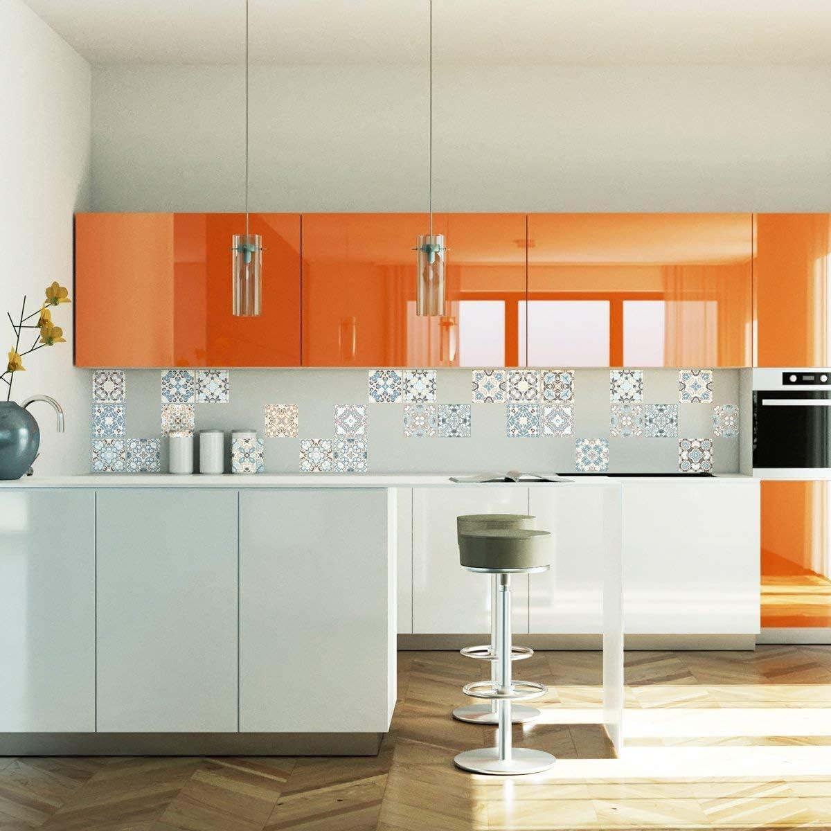 EasyLife per cucina e bagno 10 adesivi da parete con paillettes impermeabili e autoadesivi 20 x 20 cm D03