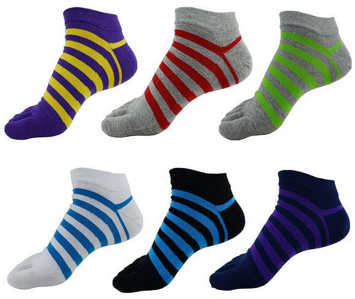 Men Boys Cotton Five Fingers Colorful Striped Separate Toe Yoga Pilates Socks 6 Pairs AHA