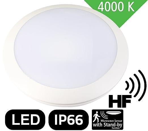 LED 16 W plafón IP66 IK10 – con radar 5.8 GHz Detector de movimiento HF –