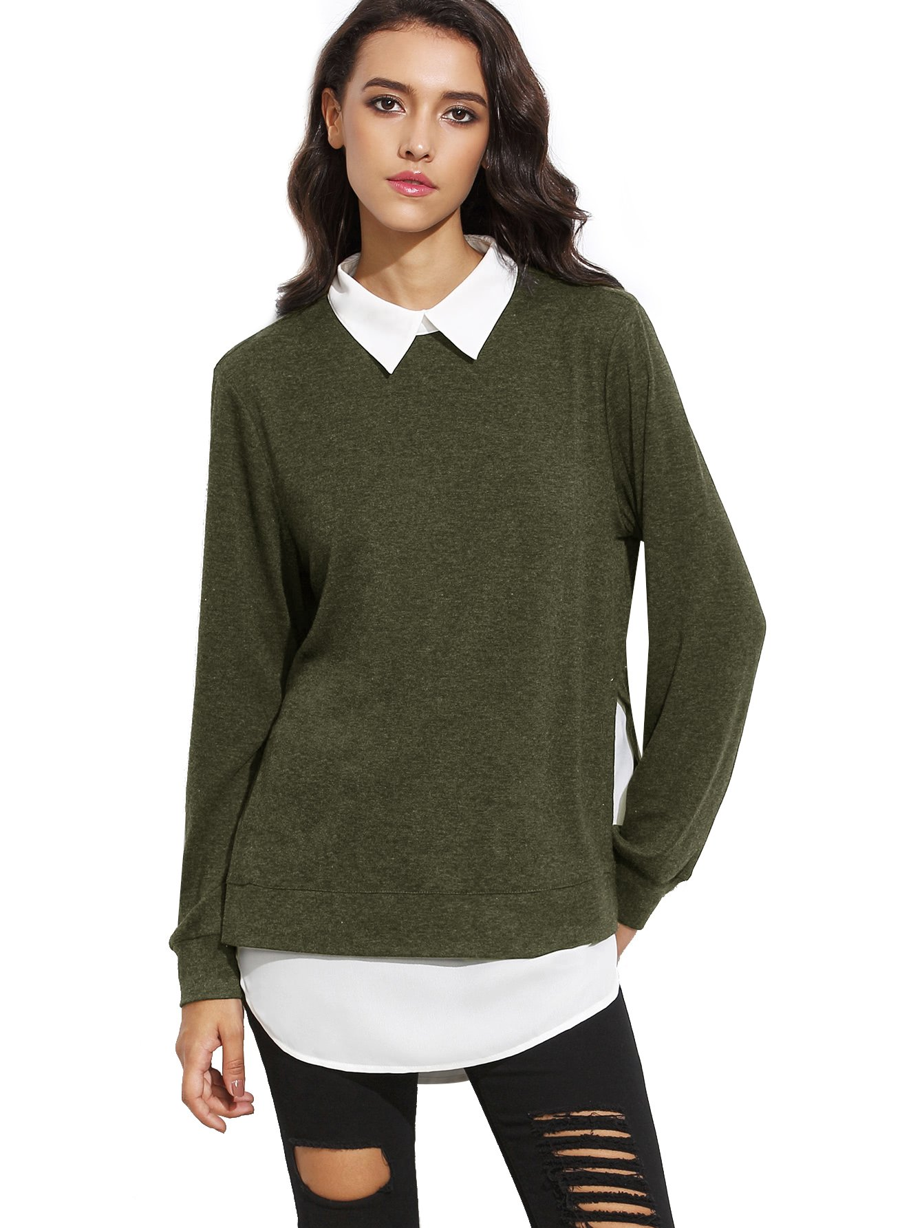 Romwe Women's Classic Collar Long Sleeve Curved Hem Pullover Sweatshirt Green M