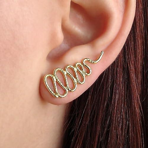 92a465d6e6c4 Aretes de oro rosa oreja brazalete regalo