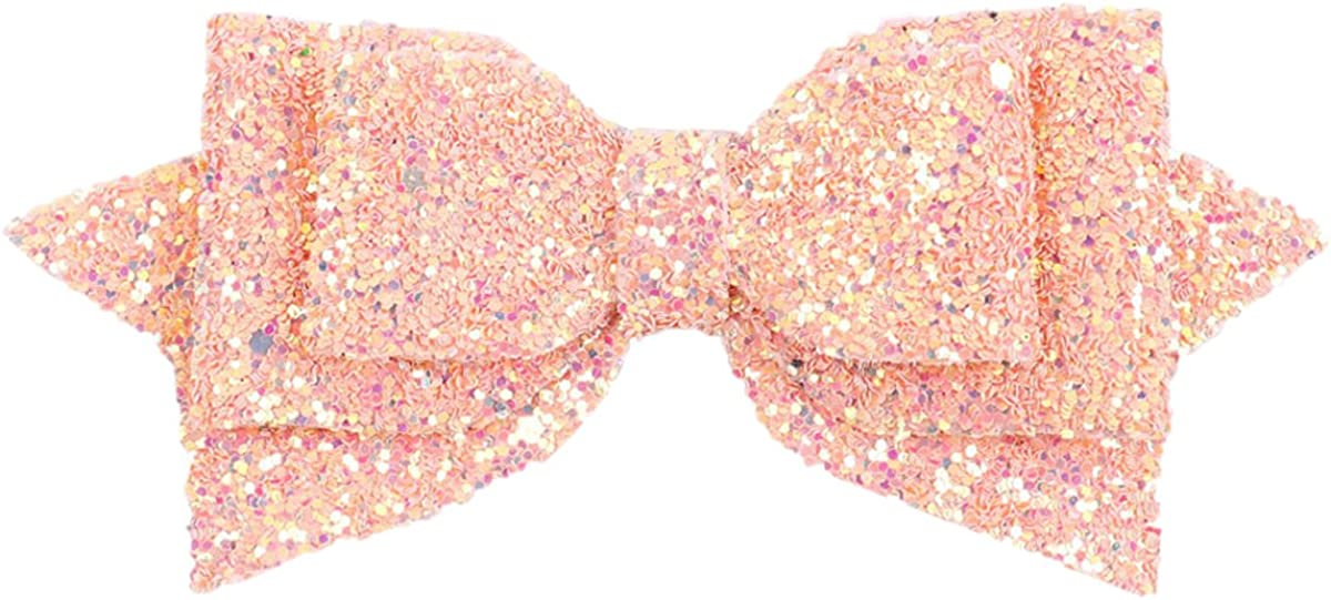 ZOONAI 5 Inch Baby Girl Glitter Hair Bows Boutique Hair Clip Teens Toddlers Glitter Sequins Hairpin Headwear