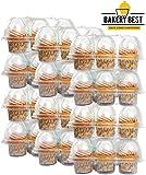BAKERY BEST [12 个装 X 6 个装] 纸杯蛋糕收纳架可容纳 6 个纸杯蛋糕 | 无铰链盖子 | 塑料支架、容器、存储托盘 | 可重复使用 | 运输 72 个纸杯蛋糕或松饼