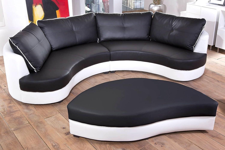 Sofa halbrund  Rundsofa mit Hocker