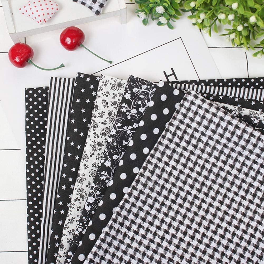 TOPINCN 7 unids 50 * 50 cm Telas de Algodón DIY Puntos Florales Cuadrados Precortados Quarter Bundle Patchwork Textiles para El Hogar para Coser (Negro): Amazon.es: Hogar