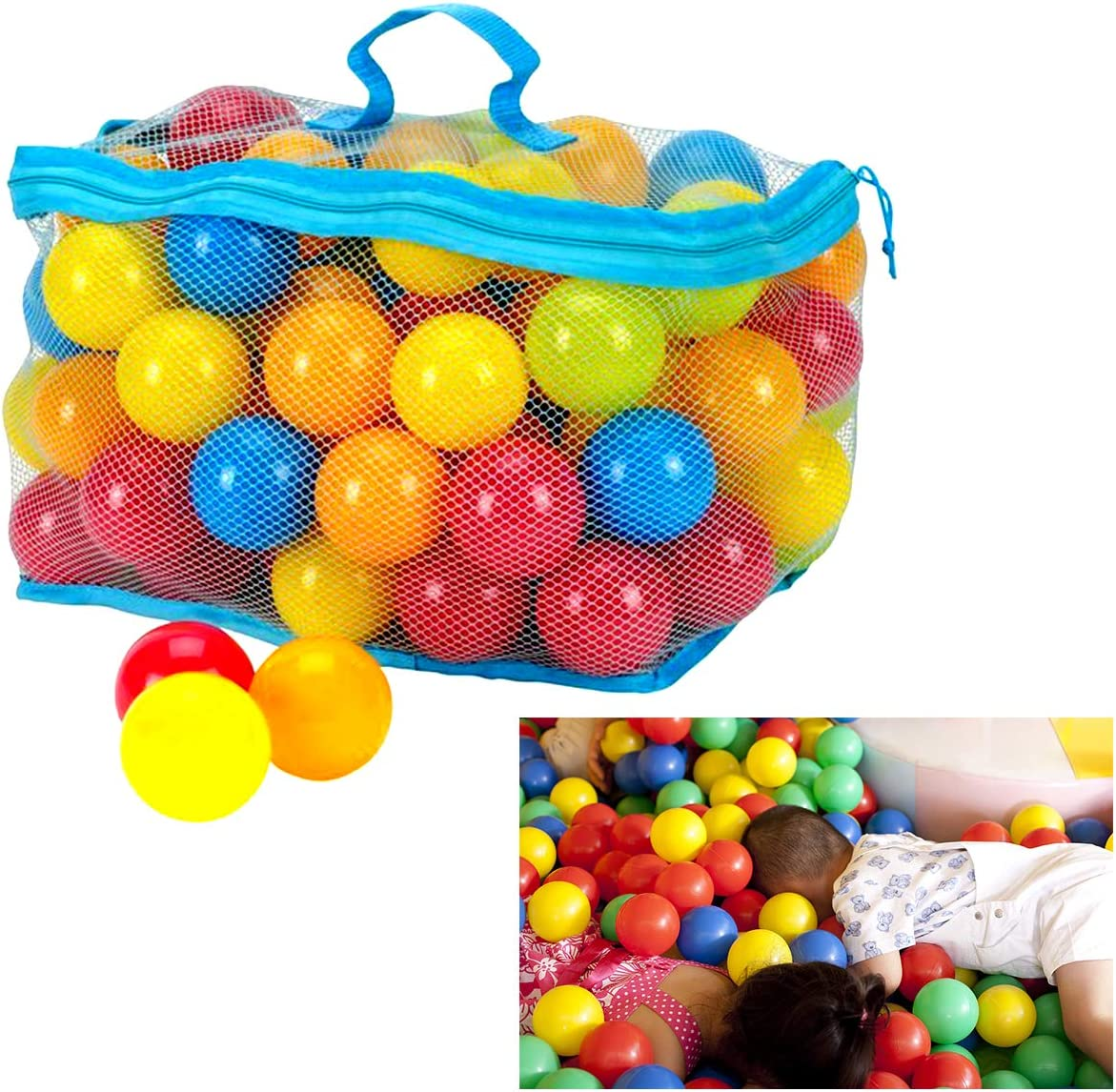 DaMohony 100pcs Multi-Colors Ocean Balls 6cm Colorful Plastic Ball with Reusable and Durable Storage Mesh Zipper Bag