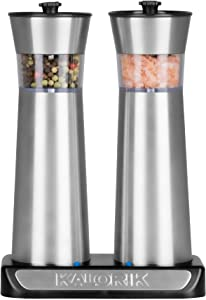 Kalorik Rechargeable Gravity Salt and Pepper Grinder Set (Stainless Steel)
