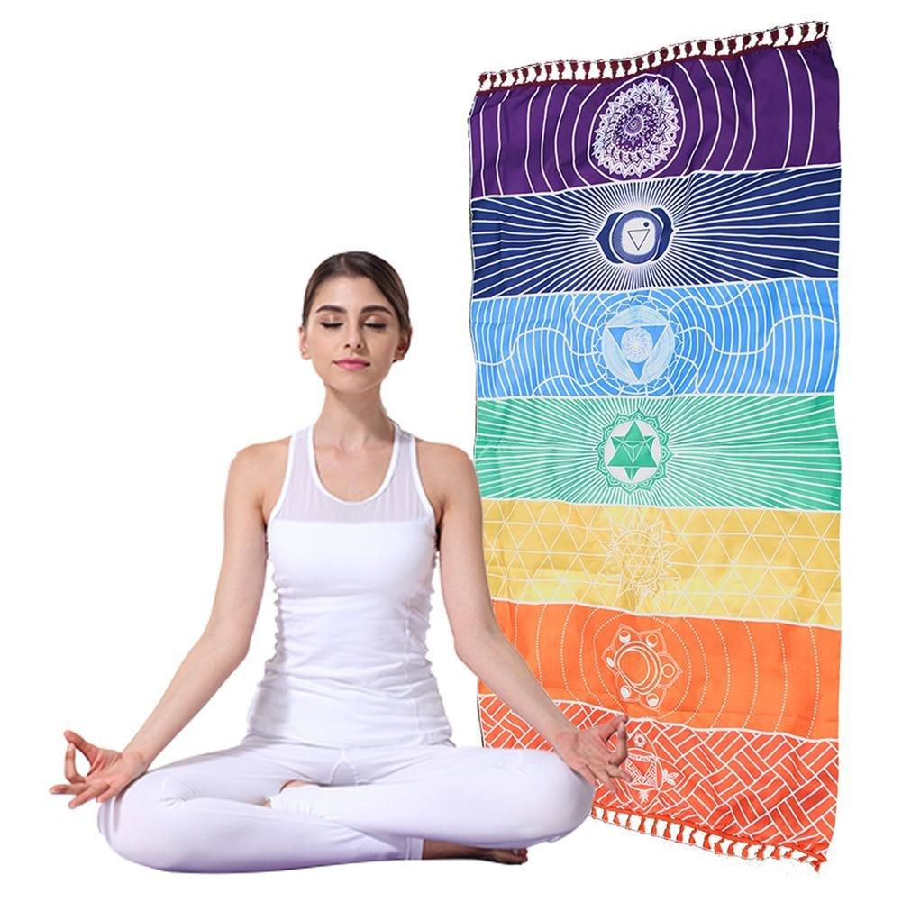 CHEN Único Yoga Manta, Rectangular Estilo Indio 7 Chakras ...