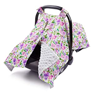 MHJY Carseat Canopy Cover Nursing Cover Breathable Cotton Infant Car Seat Canopy Carseat Cover Nursing Scarf for Boy Girl Baby Shower Gift,Floral-Purple