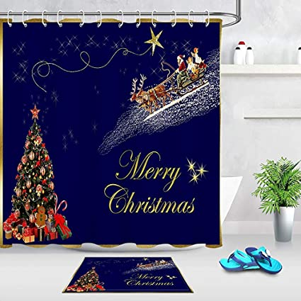 Hotyle Vintage Christmas Decor Santa Claus Reindeer Flying Sleigh Xmas Tree Gift Present Box Shower Curtain 12 Iron Hooks Included 180 X 180 Cm Amazon Co Uk Kitchen Home