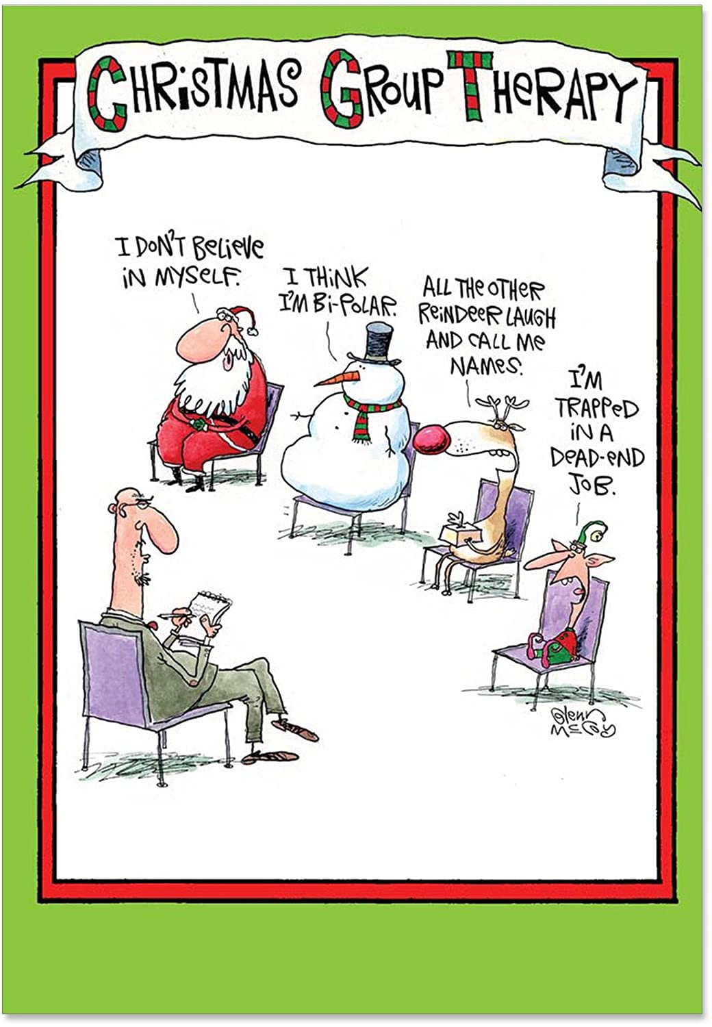 B5799 B5799 B5799 Box Set of 12 Group Therapy Naughty Humor Christmas Greeting Cards by nobleworks 1c17b5