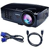 Projecteur Full HD, Videoprojecteur LED Projecteur Video 3200 Lumens 1080P Portable Projector LCD 1280*800 Home Cinema (Noir)