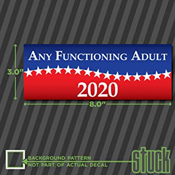 Any functioning adult 2020 8 0x3 0 printed vinyl decal sticker