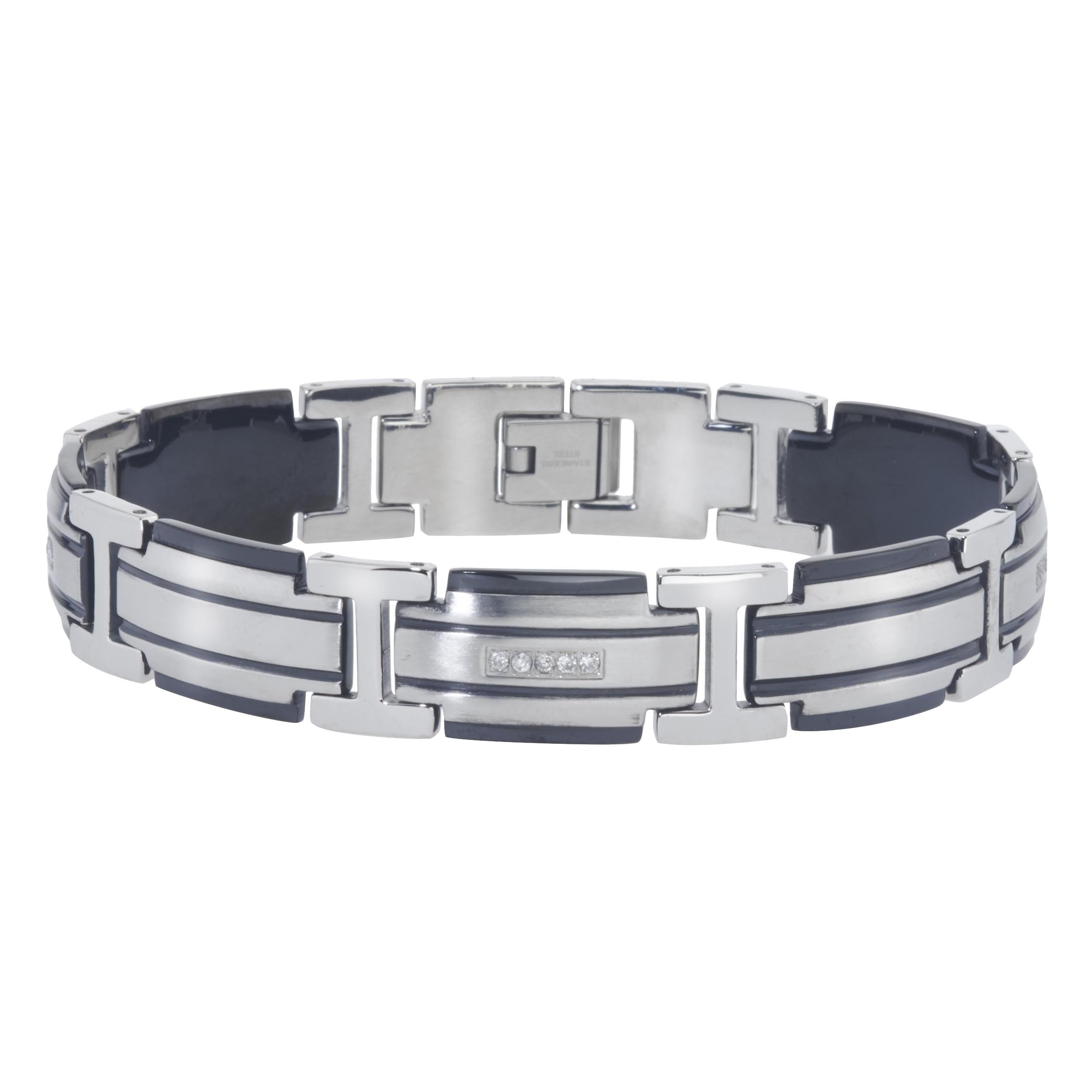Mens Diamond Bracelet in Stainless Steel (0.20 carats, H-I I3)