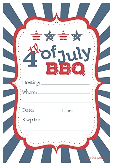 amazon com 4th of july bbq party invitations fill in style 20