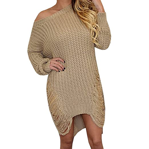Women Sexy Ripped Hole Knitted Sweater Dress Long Sleeve Casual Pullover  Tops Outwear (S,