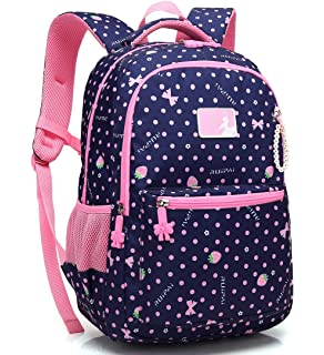 a2015c3a5652 Kid Girl School Backpack Water Resistant Elementary Dot Bookbag with Chest  Strap (RoyalBlue)