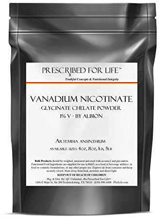 Vanadium Nicotinate Glycinate Chelate Powder - 1% V - by Albion, 5 lb
