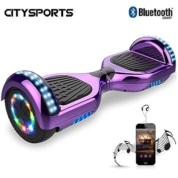 CITYSPORTS Balance Board 6.5 Pulgadas, Self Balancing Scooter Patinete Eléctrico, Ruedas de Led Luces, Bluetooth, Motor 700W