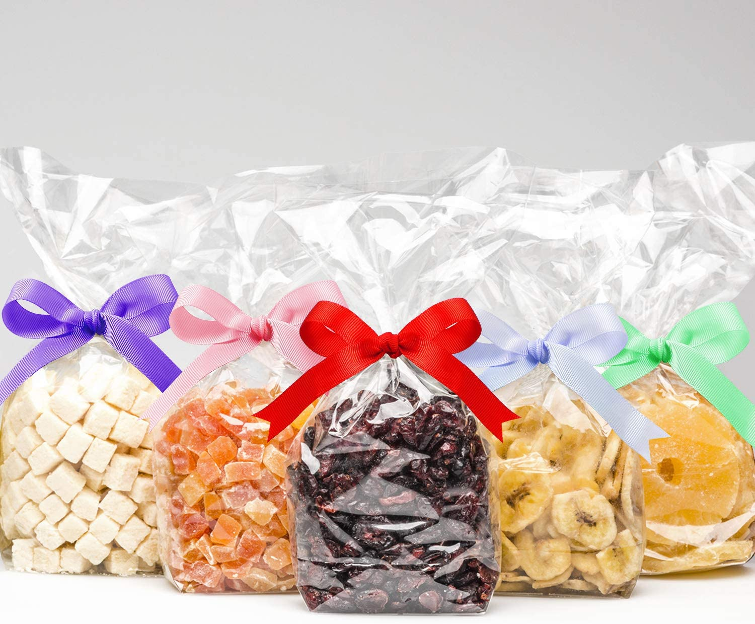 50 Counts 15 x 25 cm Clear Flat Cello Cellophane Treat Bags Cellophane Block Bottom Storage Bags Sweet/Party/Gift/Home Bags with Colorful Bag Ties (Grosgrain Ribbon)