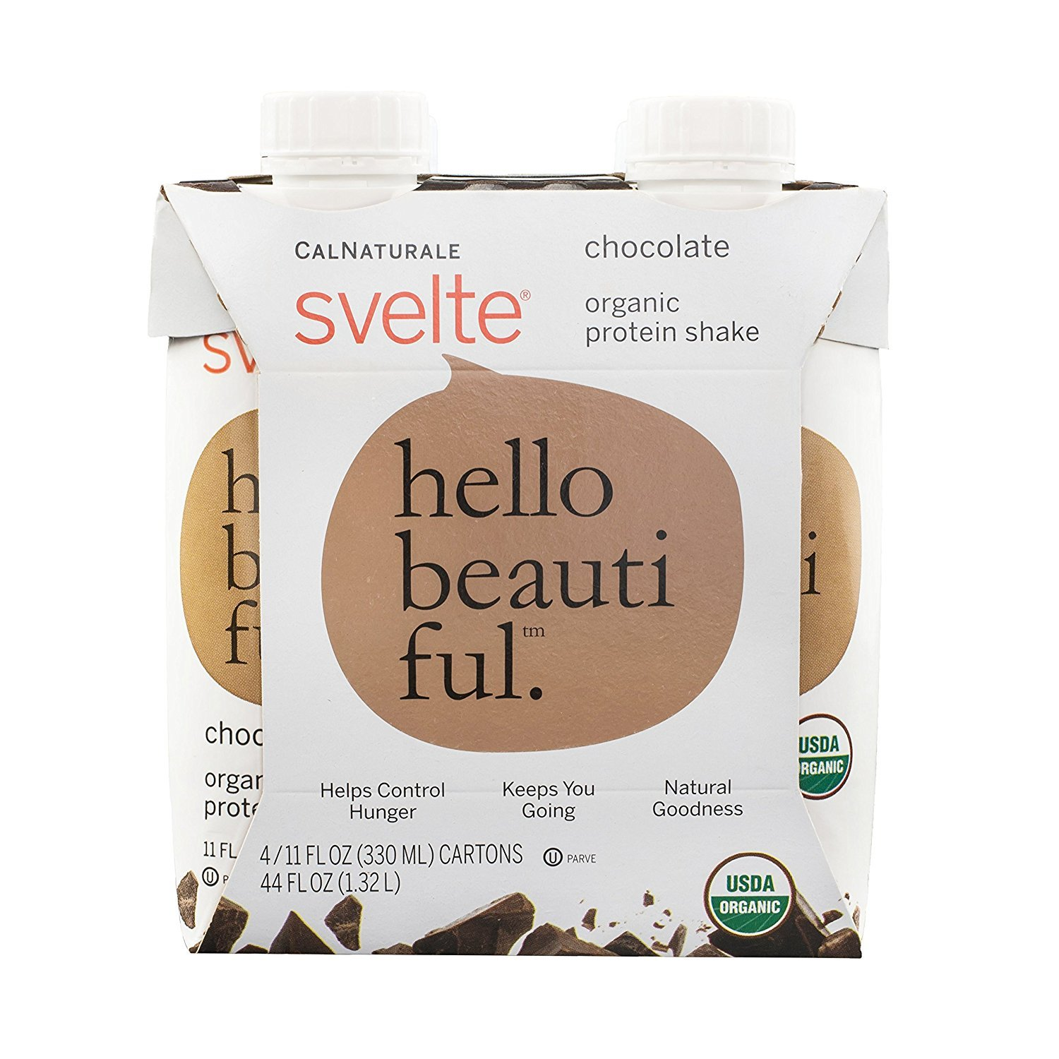 Svelte Organic Protein Shake, Chocolate, 11 Ounce, 4 Count (Pack of 6)
