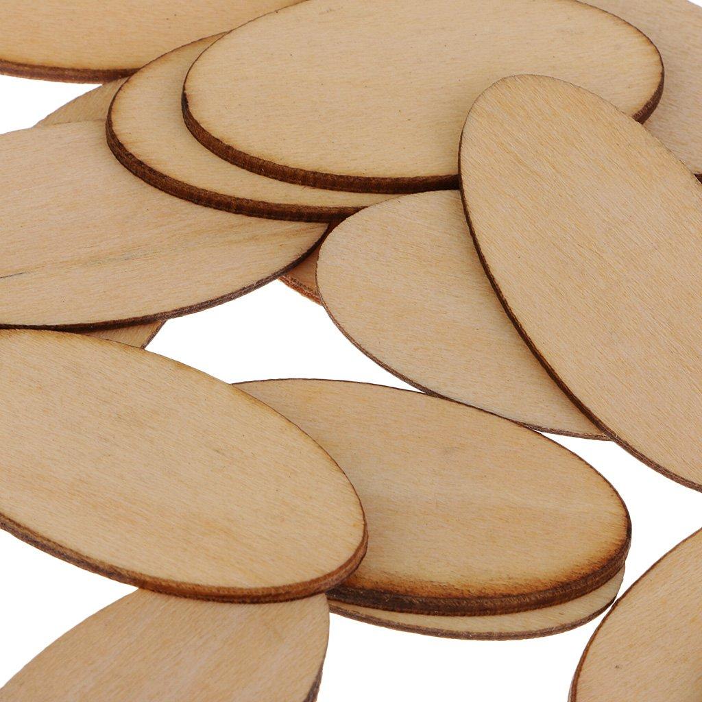 Sharplace 80 Piezas de Madera Cortada Ideal para Cualquier Proyecto de Artesan/ía o de Carpinter/ía Natural 40 x 20 mm 30 piezas