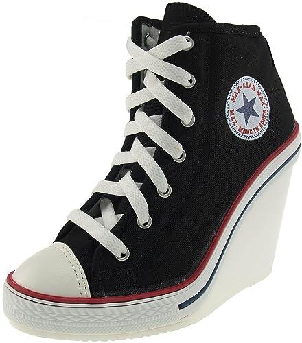 fa3e86685040 Maxstar Women s 777 Side Zipper Canvas High Wedge Heel Sneakers Black 8.5  B(M)
